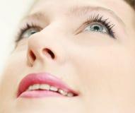 Samenstelling in het glimlachen vrouwengezicht Stock Afbeelding