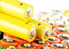 Samenstelling met alkalische batterijen Chemisch afval Royalty-vrije Stock Afbeeldingen