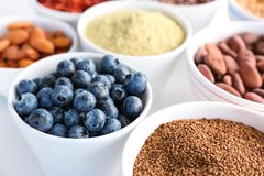 Samenstelling met assortiment van superfoodproducten Stock Afbeelding