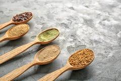 Samenstelling met assortiment van superfoodproducten Stock Afbeeldingen