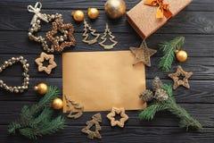 Samenstelling met brief aan Santa Claus Royalty-vrije Stock Foto