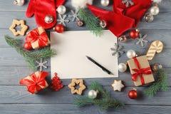 Samenstelling met brief aan Santa Claus Stock Afbeeldingen