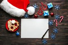 Samenstelling met brief aan Santa Claus Royalty-vrije Stock Afbeelding