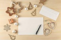 Samenstelling met brief aan Santa Claus Stock Fotografie