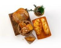 Samenstelling met brood en broodjes Stock Foto