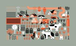 Samenstelling met de landbouw van silhouetten Stock Foto's