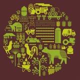 Samenstelling met de landbouw van silhouetten Royalty-vrije Stock Foto's