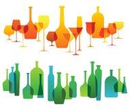 Samenstelling met de silhouetten van het alcoholglaswerk Stock Afbeeldingen