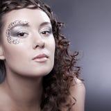 Samenstelling met elementen van gezicht-kunst stock afbeelding