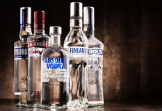 Samenstelling met flessen van globale wodkamerken Stock Afbeelding