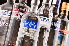 Samenstelling met flessen van globale wodkamerken Royalty-vrije Stock Fotografie
