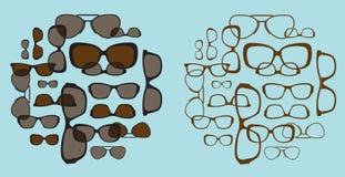 Samenstelling met glazensilhouetten Stock Afbeeldingen