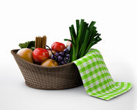 Samenstelling met groenten en vruchten in rieten mand die op wit wordt geïsoleerd Stock Afbeelding