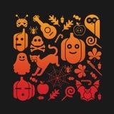 Samenstelling met Halloween-silhouetten Stock Afbeeldingen