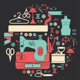 Samenstelling met het naaien van en het maken van symbolen Stock Foto