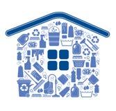Samenstelling met het schoonmaken van symbolen Stock Afbeeldingen