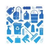 Samenstelling met het schoonmaken van symbolen Royalty-vrije Stock Afbeeldingen