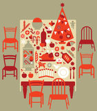 Samenstelling met Kerstmisdiner Royalty-vrije Stock Afbeelding