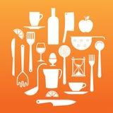 Samenstelling met keukengereisilhouetten Stock Fotografie