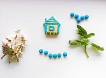 Samenstelling met koekjes en zeeschelpen Royalty-vrije Stock Fotografie
