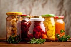 Samenstelling met kruiken van groenten in het zuur. Stock Afbeelding