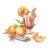 Samenstelling met overwogen wijn, sinaasappel en kaneel De hand trekt waterverfillustratie Royalty-vrije Stock Afbeelding