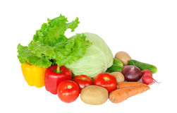 Samenstelling met rauwe groenten op wit Stock Foto