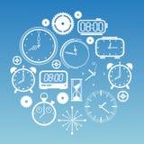 Samenstelling met tijdsymbolen Stock Foto