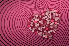 Samenstelling met velen die roze hartvormen herhalen vector illustratie