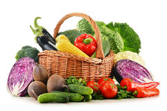 Samenstelling met verscheidenheid van verse ruwe organische groenten Royalty-vrije Stock Fotografie