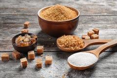 Samenstelling met verschillende types van suiker Stock Afbeeldingen