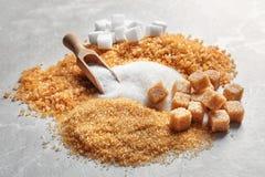 Samenstelling met verschillende types van suiker Royalty-vrije Stock Afbeeldingen