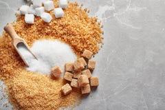 Samenstelling met verschillende types van suiker Royalty-vrije Stock Fotografie