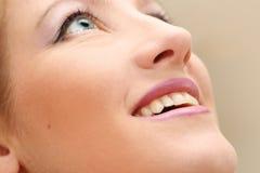 Samenstelling op het glimlachen vrouwengezicht Stock Afbeeldingen