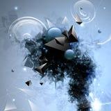 Samenstelling van abstracte geometrische vormen en zwarte rook Vector Illustratie