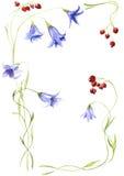 Samenstelling van blauwe handbells en heldere, rijpe bes Royalty-vrije Stock Afbeelding