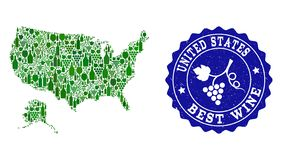Samenstelling van de Kaart van de Druivenwijn van de V.S. en Alaska en het Beste Watermerk van Wijngrunge stock illustratie