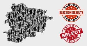 Samenstelling van de Kaart van Verkiezingsandorra en het Uitgezochte Watermerk van Grunge vector illustratie
