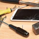 Samenstelling van de reparatie de mobiele telefoon Royalty-vrije Stock Foto's