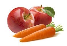Samenstelling van de wortel de rode die appel op witte achtergrond wordt geïsoleerd royalty-vrije stock afbeeldingen