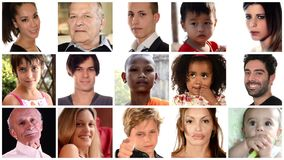 Samenstelling van diverse gezichten van mensen stock video