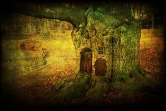 Samenstelling van een oude boom met deuren en venster Royalty-vrije Stock Afbeelding