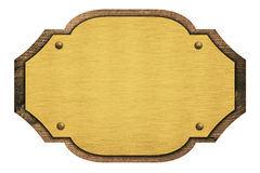 Samenstelling van gouden plaque, houten naamplaat, Stock Afbeelding