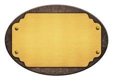 Samenstelling van gouden plaque, houten naamplaat, Stock Afbeeldingen
