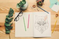 Samenstelling van het kleuren en potloden Stock Afbeeldingen