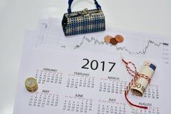 Samenstelling van het maken van jaarplannen Stock Foto