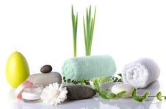 Samenstelling van hygiëne en wellnesstoebehoren Stock Afbeeldingen