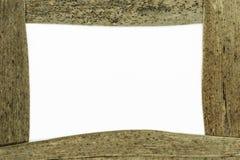 Samenstelling van kader van droge bruine rietbladeren en wit gebied in het centrum royalty-vrije stock fotografie