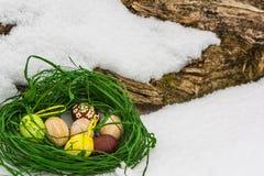 Geschilderde Paaseieren in de sneeuw Stock Foto