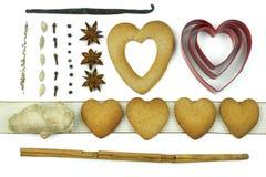 Samenstelling van koekjes en kruiden Stock Fotografie